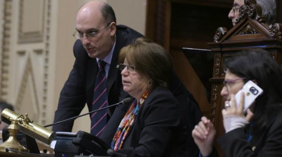 Mónica Xavier preside la Asamblea General. Foto: Francisco Flores.