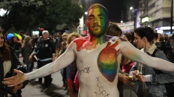 """""""Diversidad es lucha y resistencia"""" fue la consigna que enmarcó la marcha. Foto: Mateo Vázquez"""