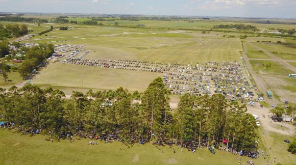 La movilización del agro en Durazno desde el aire. Foto: El País