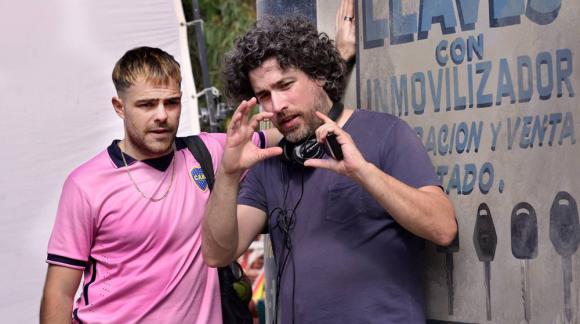"""Petern Lanzani y Mariano Cohn en la filmación de """"4x4"""""""