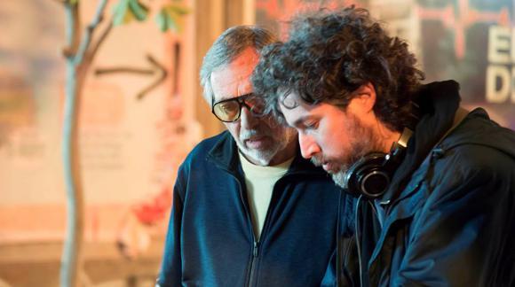 """Luis Brandoni y Mariano Cohn en la filmación de """"4x4"""""""