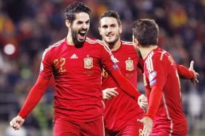 Isco celebra su golazo con España. Foto: EFE
