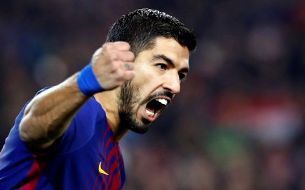 Luis Suárez festejando el gol de Barcelona. Foto: EFE