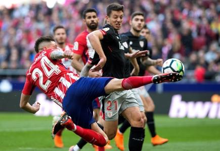 José María Giménez en el partido de Atlético de Madrid. Foto: EFE