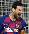 Lionel Messi celebra el tanto del triunfo en el juego entre Barcelona y Real Sociedad. Foto: AFP.