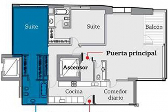 Plano del apartamento de Nisman. Foto: La Nación|GDA