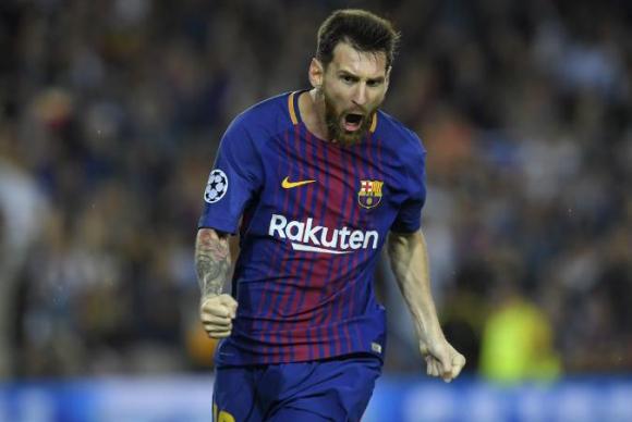 El festejo de Lionel Messi en el gol de Barcelona. Foto: AFP