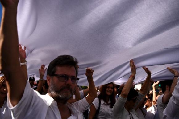 """Manifestación """"Hablemos"""" en Madrid. Foto: AFP."""