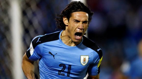 El grito de gol de Edinson Cavani. Foto: AFP
