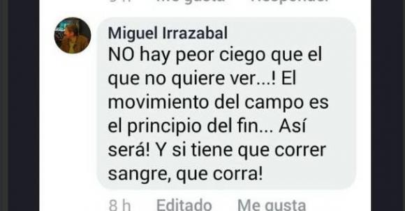 La publicación de Irrazabal que causó polémica. Foto: captura de pantalla