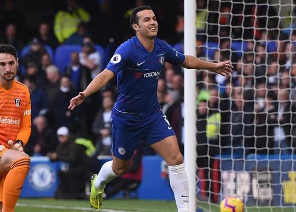 Pedro celebra el 1-0 de Chelsea a Fulham. Foto: EFE