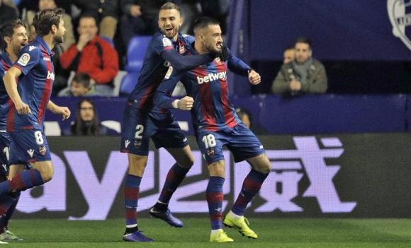 Erick Cabaco en gol para el Levante vs. Barcelona