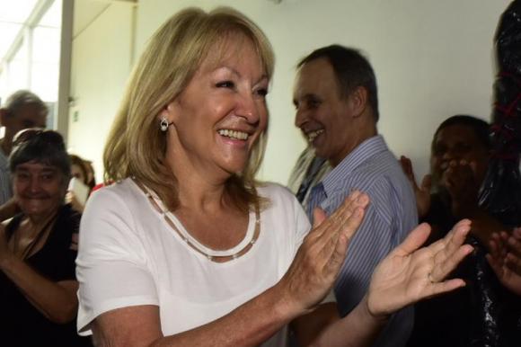 Carolina Cosse, este miércoles en la Huella de Seregni. Foto: Prensa Carolina Cosse