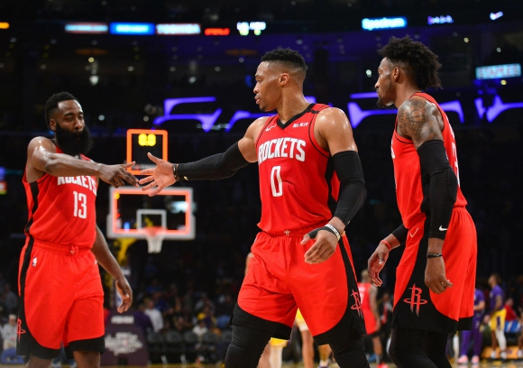 Houston Rockets venció a Los Ángeles Lakers. Foto: AFP.
