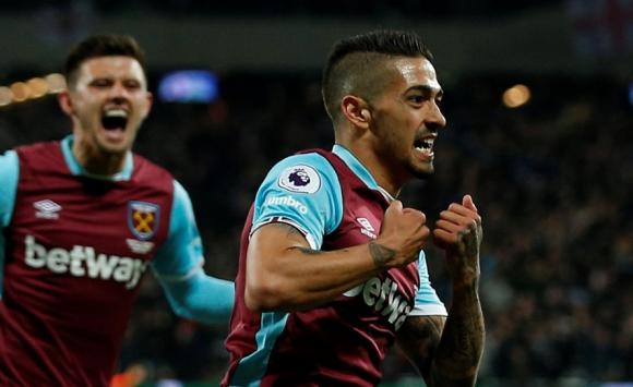 Manuel Lanzini festejando el gol del West Ham United. Foto: Reuters