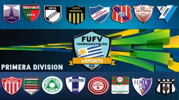 Los 16 equipos de Primera División de FUFV en E-Sports Uruguay. Foto: captura