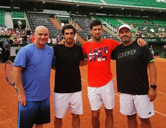 Agassi, Cuevas, Djokovic y Mancini en el entrenamiento