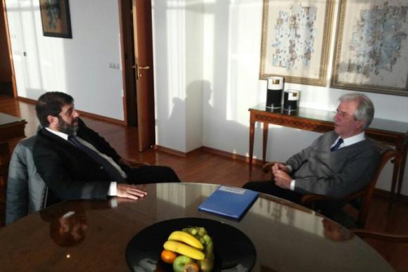 Vázquez reunido con el presidente del Pit-Cnt, Fernando Pereira Foto: Presidencia.