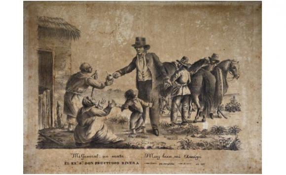 Mi general, un mate... Muy bien, mi amigo el excelentísimo Fructuoso Rivera, 1838, Litografía sobre papel