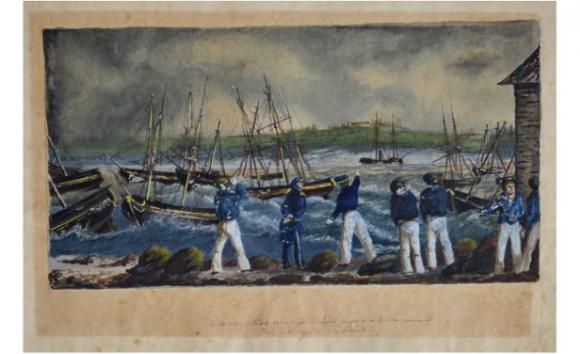 Naufragio del vapor Gorgon, 1844, Acuarela y tinta