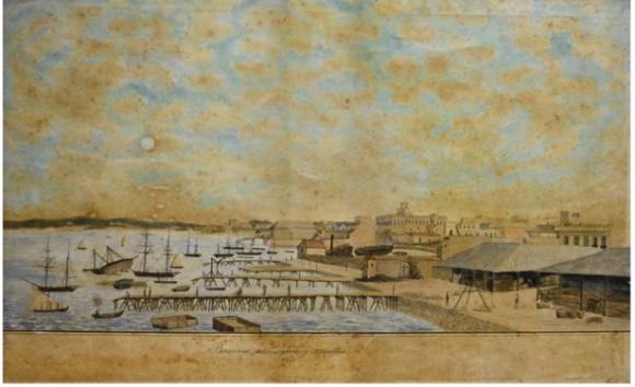 Barraca del Sr. Lafone y muelles, 1848, Acuarela y tinta