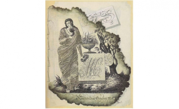 Alegoría caligráfica «Montevideo Octubre 22.1852»
