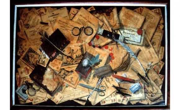 Pasquines, lentes, barajas y plumas, 1827, dibujo y óleo