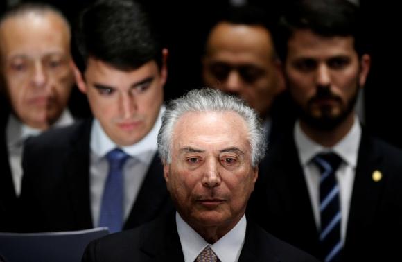 Michael Temer el día que asumió como presidente de Brasil. Foto: Reuters