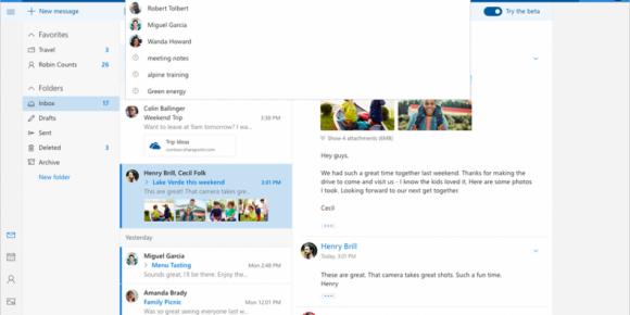 Asi luce la nueva interfaz de Outlook. Foto: Microsoft