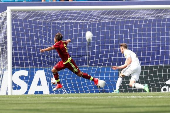 El festejo de Rolando Peña que puso el 1-0 ante Alemania. Foto: EFE