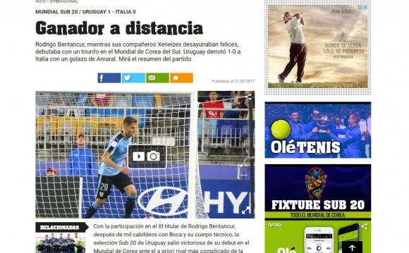 Diario Olé escribió sobre el triunfo de Uruguay, pero resaltando a Bentancur. Foto: Captura