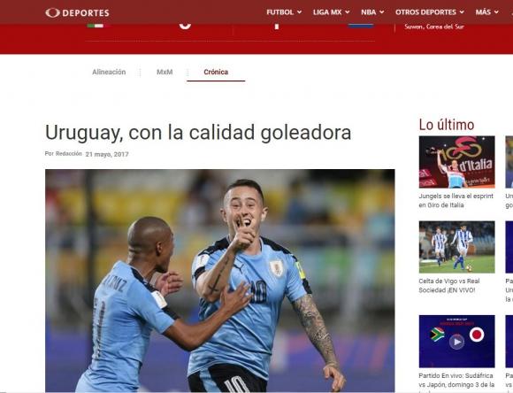 También Televisa en su portal digital habló de la calidad de Uruguay. Foto: Captura