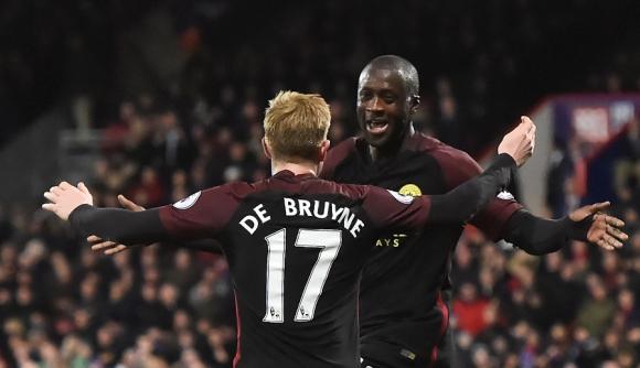Yaya Touré celebra su gol ante Crystal Palace. Foto: AFP