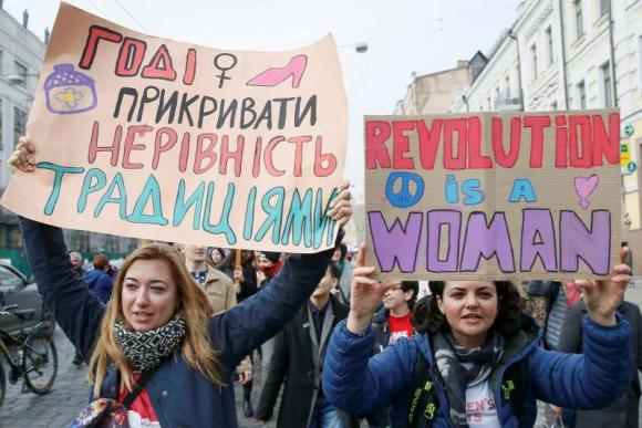 Manifestación por el Día Internacional de la Mujer en Ucrania. Foto: Reuters