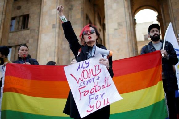 Manifestación por el Día Internacional de la Mujer en Georgia. Foto: Reuters.