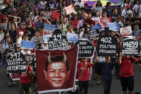 Manifestación por el Día Internacional de la Mujer en Filipinas. Foto: Efe.