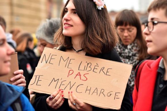 Manifestación por el Día de la Mujer en Francia. Foto: AFP.