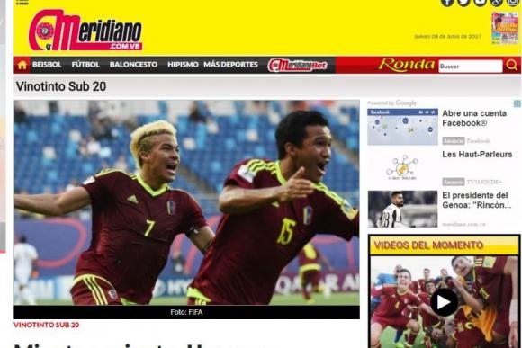 El Meridiano fue el diario que le puso mayor calor al destacado triunfo Vinotinto. Foto: Captura