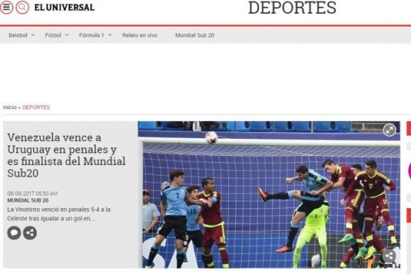 El diario Universal simplemente informó que Venezuela está en la final. Foto: Captura