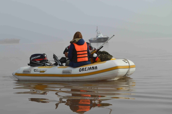 Un equipo de varios expertos recorre el río Uruguay frente a Fray Bentos. Foto: Daniel Rojas