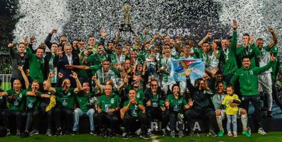 Atletico Nacional festeja el título. Foto: AFP