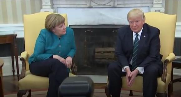 Ángela Merkel visitó a Donald Trump en la Casa Blanca. Foto: Captura