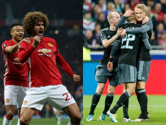 Los festejos del Manchester United y el Ajax, que están en la final. Fotos: EFE