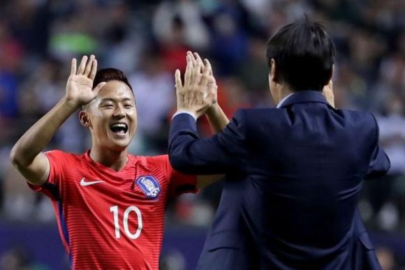 Lee Seungwoo celebra con el técnico Shin Taeyong el primer gol. Foto: FIFA