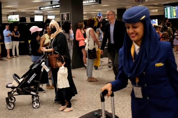 El aeropuerto de Washington DC ayer mientras arriban musulmanes. Foto: Reuters