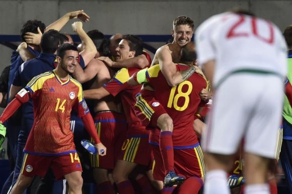 El festejo y la emoción de los jugadores de Andorra tras el triunfo. Foto: AFP