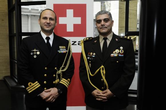 Capitán de Fragata Alejandro Fros, Teniente Coronel Pedro Gómez.