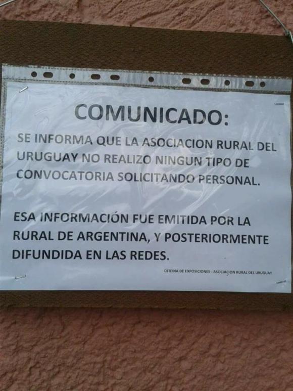 La Rural del Prado debió aclarar que no tenía relación con el llamado. Foto: Facebook Elisa Ferreira