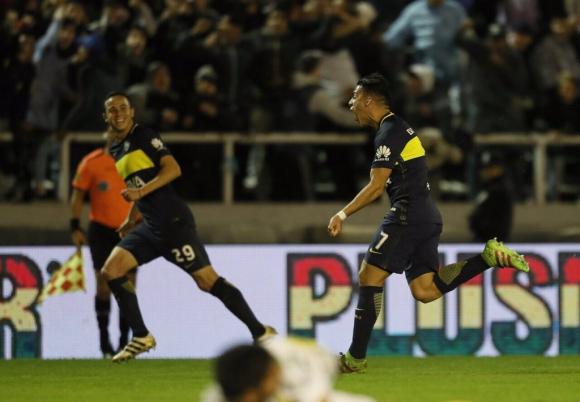 Cristian Pavón con el grito de gol de Boca. Foto: prensa Boca.