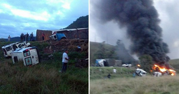 Accidente dejó al menos 21 muertos en Brasil. Foto: Twitter @gazetaonline